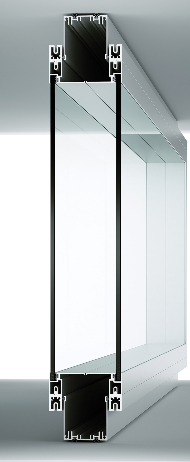 section equipped double-glazed partition walls