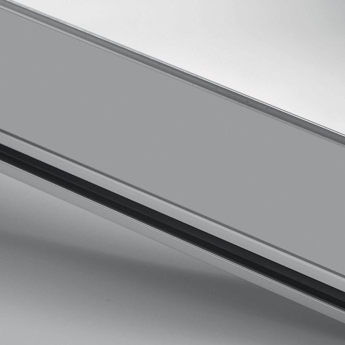 Grey painted aluminium finish for glass walls