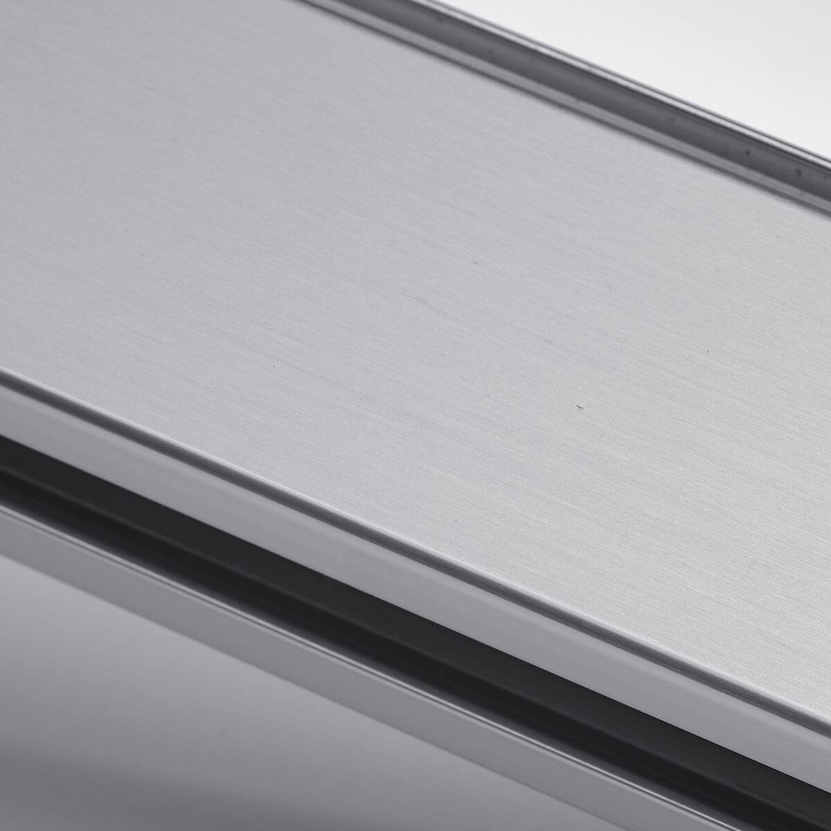 Natural aluminium finish for glass wall
