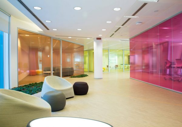 partitions glass colored offices Astellas - Evolvinwall